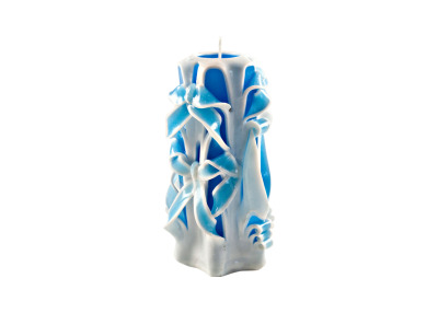 Blue Sculptured Candle Medium