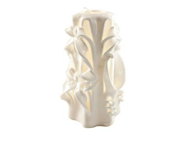 Sculptured Candle White Medium
